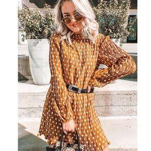 Pleated Polka Dot Long Sleeve Dress
